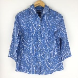 Talbots Size 10P Paisley Button Down Shirt